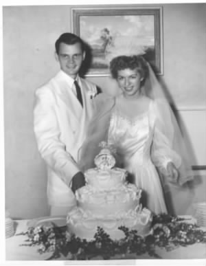 Wedding day of Betty Virginia Carringer and Frederick Walton Seaver - 12 July 1942