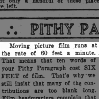 """The Speed of """"Moving Picture"""" Films"""