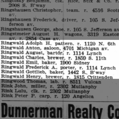 1896 Henry Ringwald, St. Louis City Directory