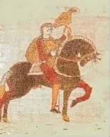 A portion of the Bayeux Tapestry, portraying Harold, designated as the king by the falcon perched atop his hand.