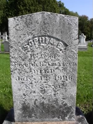Gravestone of Sophia (Brown) Amazeen