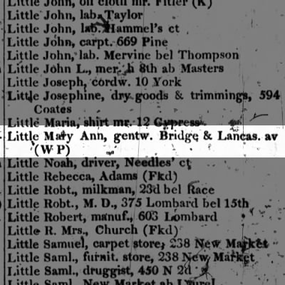 Little Mary Ann, gentw. Bridge & Lancas. av (W P)
