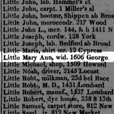 Little Mary Ann, wid. 1606 George