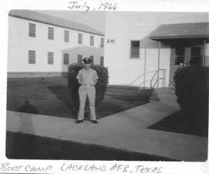 Bill Kover in front of barracks, Lackland AFB, 1966.jpg