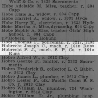 San Francisco City Directory 1903 - Hobrecht