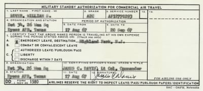 Emergency Leave Standby Authorization (August 17, 1967) - Fold3.com
