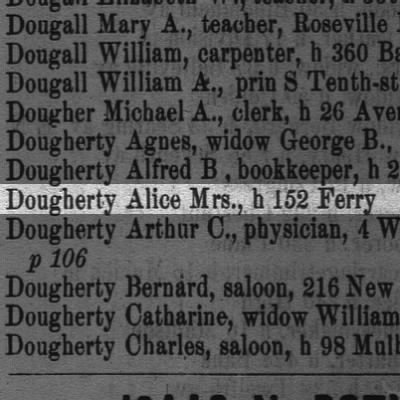 Dougherty Alice Mrs., h 152 Ferry