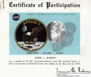 Apollo 11 certificate of participation