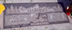 Headstone of Billy W and Eunice Wayment Harmon