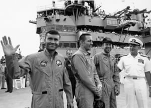 Apollo 13 Crew on the USS Iwo Jima