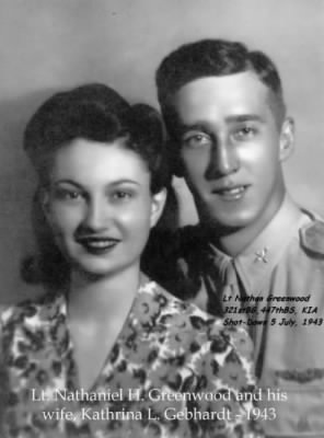 Lt and Mrs. Nathan Greenwood, 1943