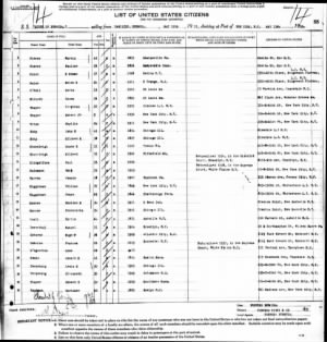 1935 May 13 Queen of Bermuda Ship Manifest from Bermuda, Line 15