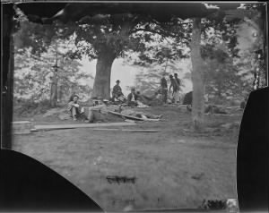 B-349 Wounded soldiers under trees, Marye's Heights, Fredericksburg. After the battle of Spotsylvania, 1864.