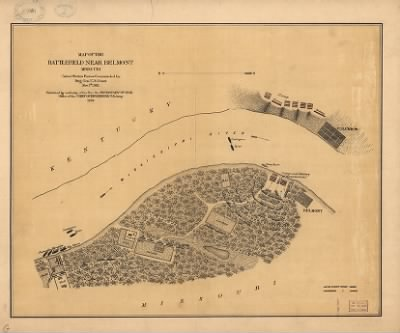 Map Of The Battlefield Near Belmont Missouri United States Forces - Us map in 1861