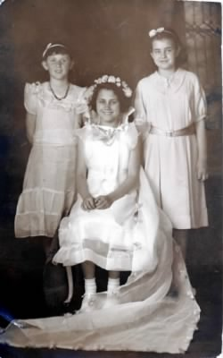 PH-FAMD-018b L-to-R Barbara Hanson & Flora Miles Age 12 & Ruth Droubay -- Health Day Queen May Day -- 01 May 1936.jpg