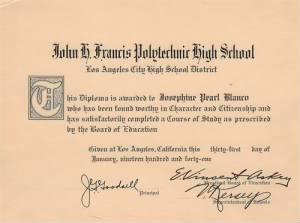 Josephine Peal Blanco - High School Diploma