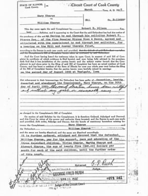 "William and Mariah ""Mary"" Sharpe -Divorce paperwork"