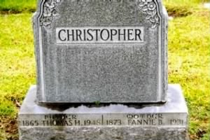 Thomas and Frances Christopher - Headstone