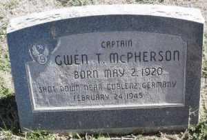 Gwen T McPherson Headstone in honor of him