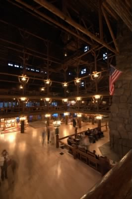 The Old Faithful Inn Lobby at Night 2010
