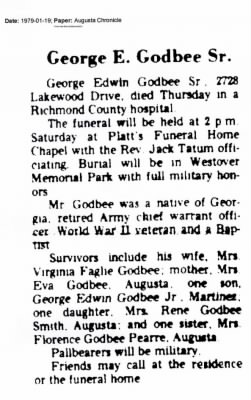 Obituary George Edwin Godbee Sr.