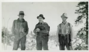 Jasper Miley, Irwin Burgess and Henry Merema after rescuing the Nightingale family - January 1930.jpg
