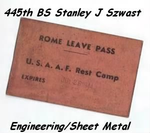 Rome pass for R and R, July, 1944 (Italy)