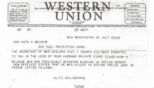 war department telegram of death of Hugh H. Melrose`