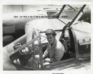 Fighter Pilot Capt. Leo Paul in his P-38 in the Pacific Theatre during WWII