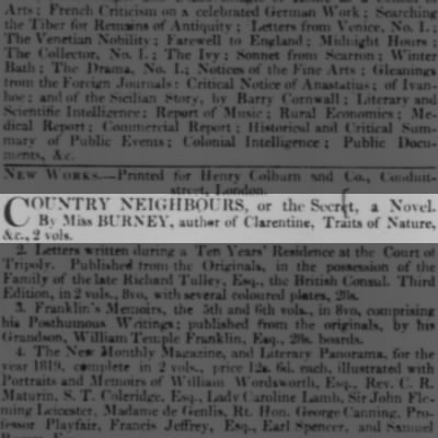 """""""Country Neighbours"""" by Sarah Harriet Burney is first published"""