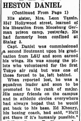 18 July, 1945 article about Capt Daniel being an advocate  for the POW's