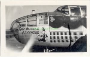 "The B-25 #43-27542 ""Superstitious Al-O-ysius"" Combat Ship Lenny flew in."