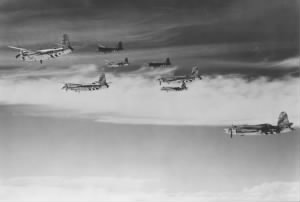 B-26 bombers of the 397th Bombardment Group, 599th Bomb Squadron, fly in formation