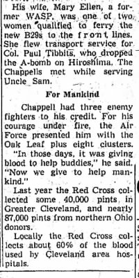 Jack and Mary Ellen Chappell /Newspaper Article on BLOOD DRIVE.
