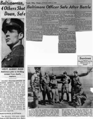 "Lt Duke article about the ""SHOT-DOWN"" of 30 March, 1943"