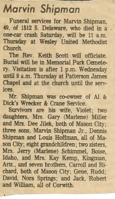 Marvin Ross Shipman Sr.'s Obituary