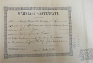 Marriage to Mary F Vaughn