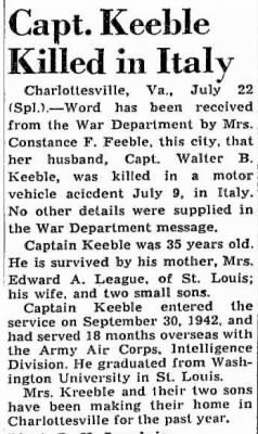 About Capt. Walter Keeble, Intelligence with the 47th Bomb Wing. ITALY WWII