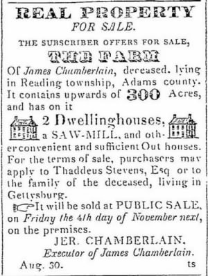 James Chamberlain decd 1831 Jer C Notice of Sale.JPG