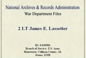 Lt Lassetter was Co-Pilot on a B-24 Training Mission, Lost on 17 April, 1944