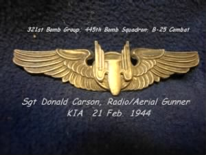 321st BG, 445th BS, B-25 SGT Donald Carson, KIA on 21 Feb.'44 Shot-Down over Target