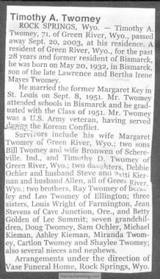 Obituary: Timothy A Twomey