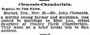 Lou Chamberlain 1905 Weds J T Clements.JPG