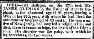 James Oliphant 1816 Ballston NY Death Notice.JPG