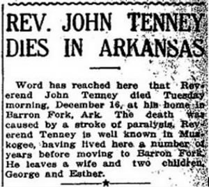 Rev John Tenney 1913 Death in AR.JPG
