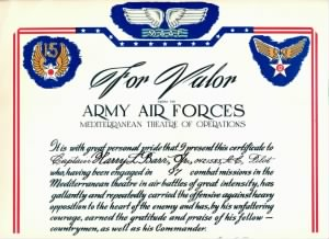 Certificate for 97 Combat Missions