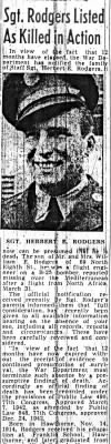 Newspaper on the LOSS of 321stBG, 448thBS, S/Sgt Herbert Rodgers, KIA 31 March, 1943 North Africa