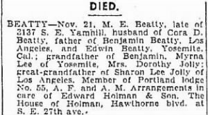 Matthew E Beatty Sr 1939 Death Notice.JPG