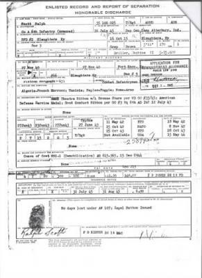 Ralph Scott's World War II Honorable Discharge Papers