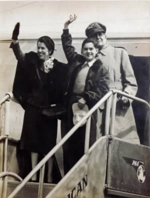 Photograph of Douglas MacArthur, his wife, and his son, returning to the Philippines in 1950 for a visit.